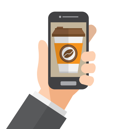 online order coffee and delivery. hand holds smartphone. vector illustration.