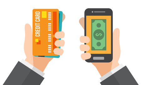hand holds credit card and hand holds smartphone. online banking. vector illustration.