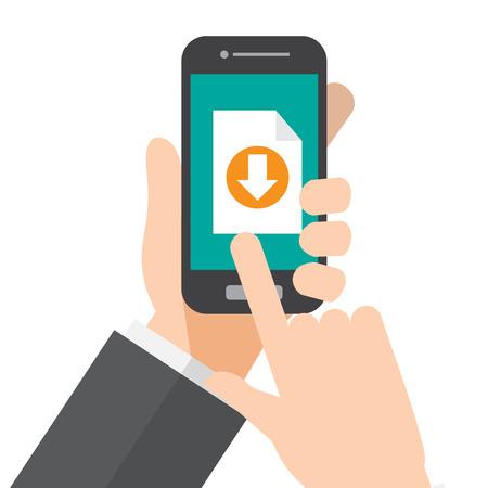download. hand holds smartphone. vector illustration. Illustration