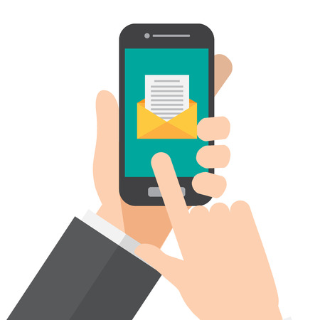 mail , message. hand holds smartphone. vector illustration.