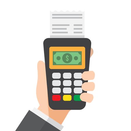 hand holds credit card reader machine. vector illustration.