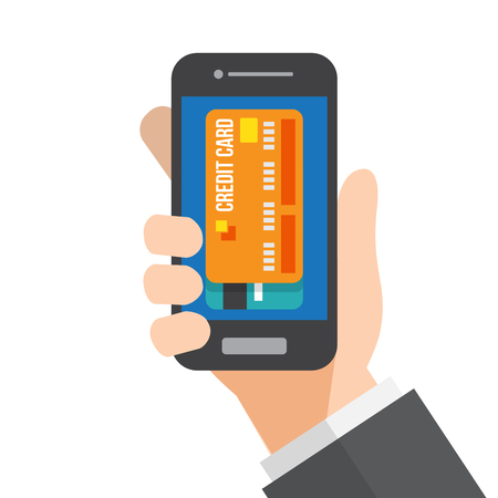 mobile payment. smartphone pay. hand holds smartphone. vector illustration.