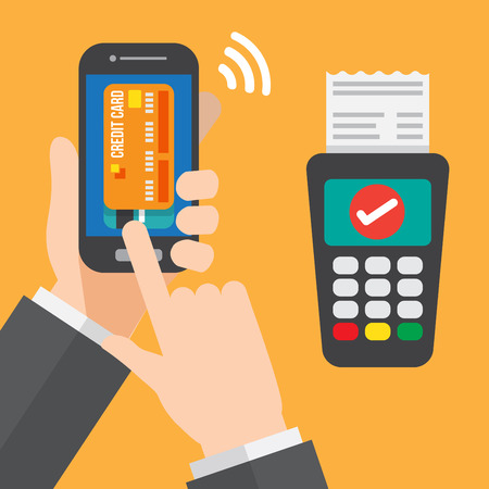 reader: smartphone payment with credit card reader machine. vector illustration.