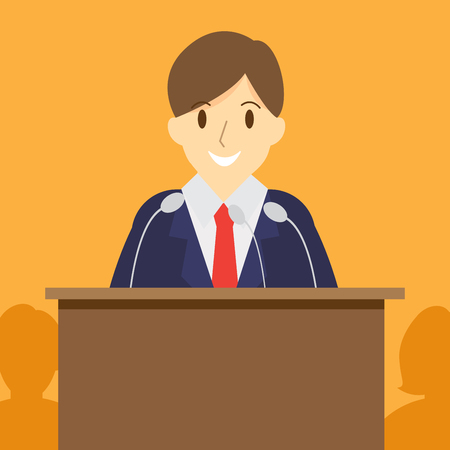 tribune: speech or debate. election voting. politician speaker. vector illustration.