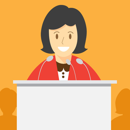 speech or debate. election voting. politician speaker. vector illustration.