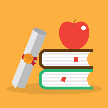 education. book and certificate. vector illustration.