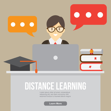 distance learning. online study , online teacher and consultant. distance education. vector illustration. Illustration
