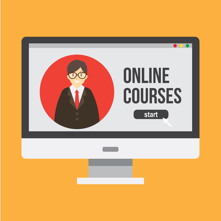 online study , online teacher and consultant. distance education. vector illustration.