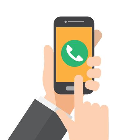 smartphone call , ringing phone. hand holds smartphone. vector illustration. Illustration