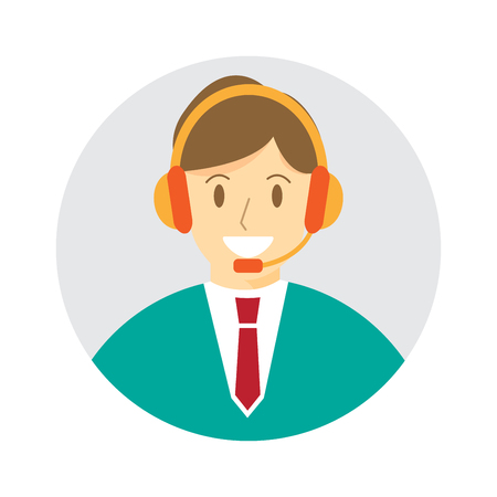 Call center man , male avatar. icon vector illustration.