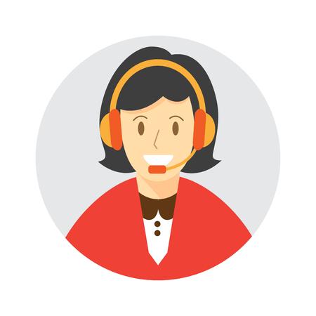 Call center female , woman avatar. icon vector illustration.