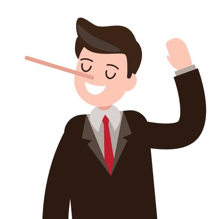 Kłamstwa, oszukiwanie, hoax biznesmen znak.