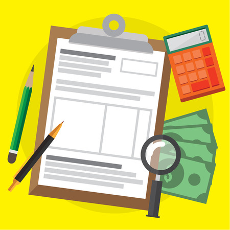 Tax calculation , budget and accounting. web banners, web sites , infographics vector illustration.