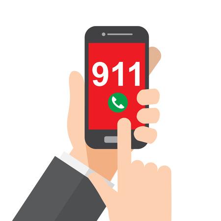 Call police , emergency , ambulance , hand holds smartphone. Illustration
