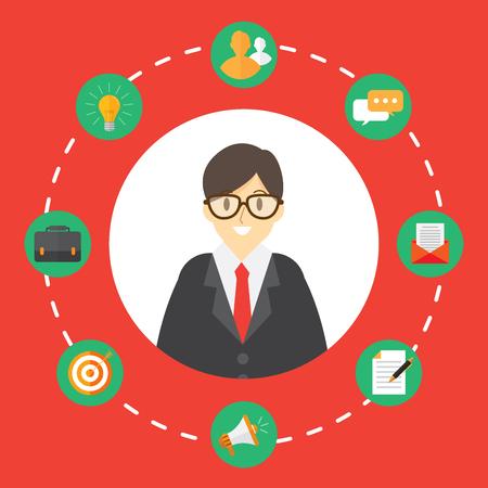 Businessman with stuff icons set. Infographic vector illustration. Illustration
