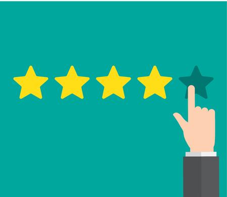 Rate , rating star, feedback. Vektorové ilustrace