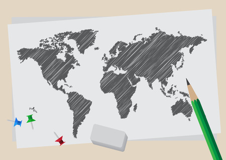 World map. hand draw style.