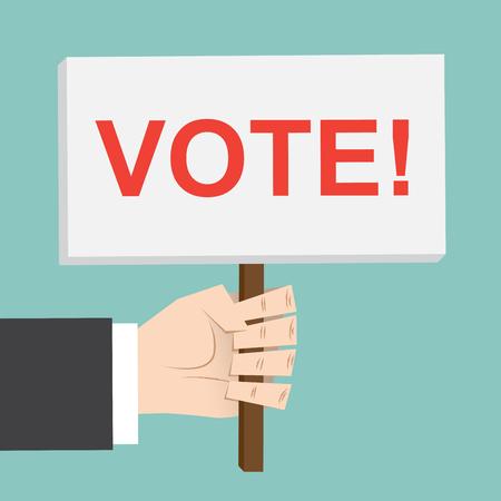 referendum: Vote , election. hand holds sign. Democracy vector illustration.