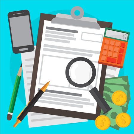 Tax calculation , budget and accounting , audit and financial report. web banners, web sites , infographics vector illustration. Illustration