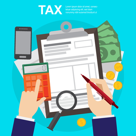 Tax calculation , budget and accounting , audit and financial report. web banners, web sites , infographics vector illustration. Ilustração