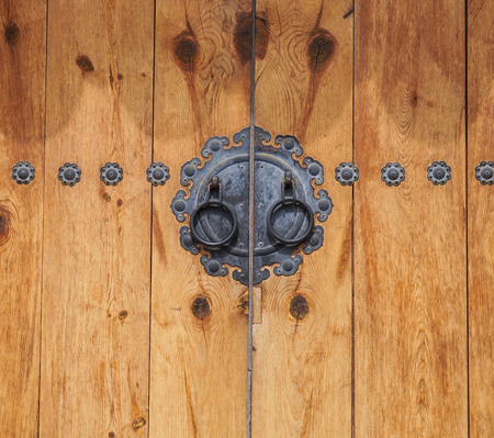 korean style house: wooden door in Korea vintage style