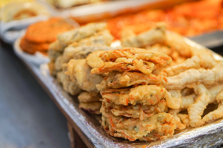 soul food: Korea street food at local Korean market, Soul Korea Stock Photo