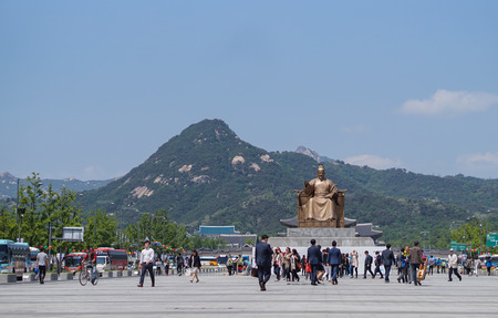 public figure: Seoul.South Korea - 9 May 2016; Statue of King Sejong the great at Gwanghwamun square,South Korea