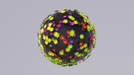 Creative abstract global ecology and environment protection business concept. Miniature planet of small color flowers. Globe flowers on planet . Panoramic 360 degrees in a flowers. 3D rendering.