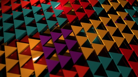 3d render abstract background. Geometry shapes that goes up and down. Triangle cross-section form. Random red triangles illustration Archivio Fotografico