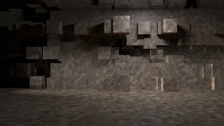 cube room concrete abstract background 3d rendering image