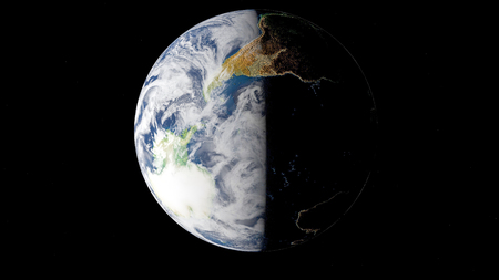 Planet Earth from space 3D illustration orbital view, our planet from the orbit. Wallpaper