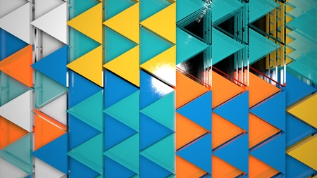 3d render abstract background. Geometry shapes that goes up and down. Triangle cross-section form. Random blue triangles illustration Archivio Fotografico