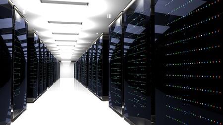 Racks de serveurs dans le centre de données cloud de la salle des serveurs. Cluster matériel de centre de données. rendu 3D. Sauvegarde, hébergement, mainframe, ferme et rack informatique avec informations de stockage. rendu 3D. illustration 3D