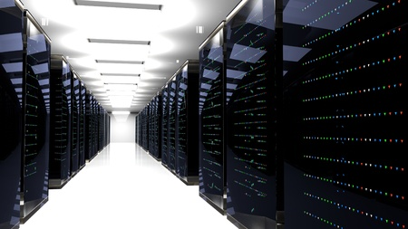 Server racks in server room cloud data center. Datacenter hardware cluster. 3d render. Backup, hosting, mainframe, farm and computer rack with storage information. 3D rendering. 3D illustration