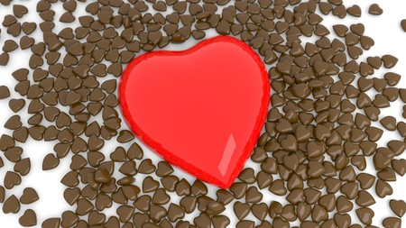 Abstract red heart background for Valentines day on white. 3d render Stock Photo