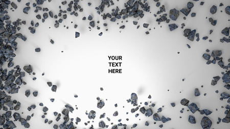 3d render abstract background. Cracked stone after explosion with your text place. 3d illustration. Placeholder on paper white. Your text here