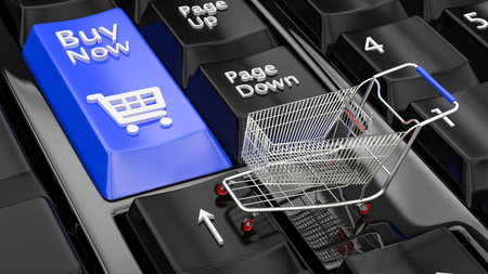 Online shopping concept. Closeup keyboards with a Buy red button and a shopping cart symbol icon. Small shopping cart on Laptop. Black Friday and Cyber Monday concept. 3D illustration. 3D rendering