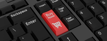 Online shopping concept. Closeup keyboards with a Buy red button symbol icon. Small shopping cart on Laptop. Black Friday and Cyber Monday concept. 3D illustration. 3D rendering Stock fotó
