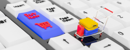 Online booking concept. 3D illustration. 3D rendering. Closeup keyboards with a Buy button and a shopping cart symbol icon. Small shopping cart with suitcase on Laptop. 3D illustration. 3D rendering. Stock Photo