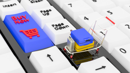 Online booking concept. 3D illustration. 3D rendering. Closeup keyboards with a Buy button and a shopping cart symbol icon. Small shopping cart with suitcase on Laptop. 3D illustration. 3D rendering. Stock fotó