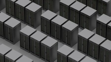 Server racks in server room cloud data center. Exit door. Datacenter hardware cluster. Backup, hosting, mainframe, farm and computer rack with storage information. 3D rendering. 3D illustration