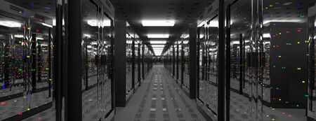 Servers. Server racks in server room cloud data center. Datacenter hardware cluster. Backup, hosting, mainframe, farm and computer rack with storage information. 3D rendering. 3D illustration Banco de Imagens