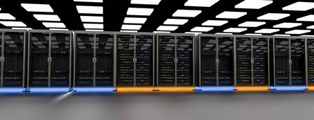Server racks in server room cloud data center. Datacenter hardware cluster. Backup, hosting, mainframe, mining, farm and computer rack with storage information. 3D rendering. 3D illustration