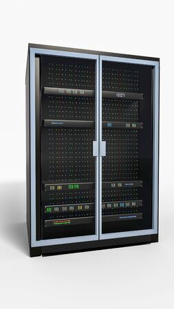 Server rack image. Isolated on white background. Vertical. 3d render. Illustration Banco de Imagens - 143091197