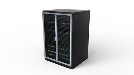 Server rack image. Isolated on white background. 3d render. Illustration