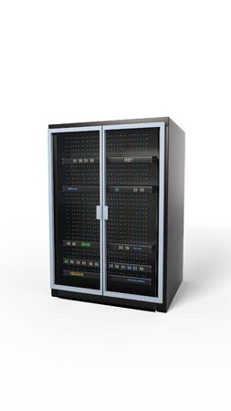 Server rack image. Isolated on white background. Vertical. 3d render. Illustration