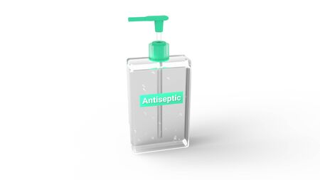 Bottle of instant antiseptic hand sanitizer transparent gel isolated on white background. Copyspace. Antibacterial, hydro alcoholic gel, ethyl alcohol. 3d illustration