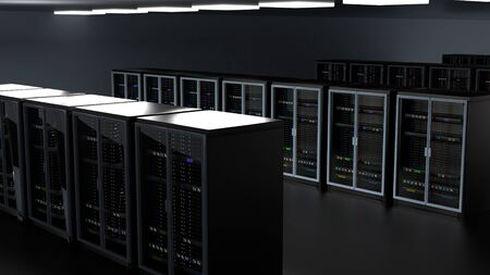 Server racks in server room cloud data center. Datacenter hardware cluster. Backup, hosting, mainframe, farm and computer rack with storage information. 3D rendering. 3D illustration