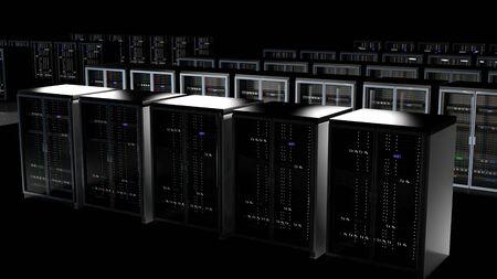 Server racks in server room cloud data center. Datacenter hardware cluster. Backup, hosting, mainframe, farm and computer rack with storage information. 3D rendering. 3D illustration Banco de Imagens - 148874924