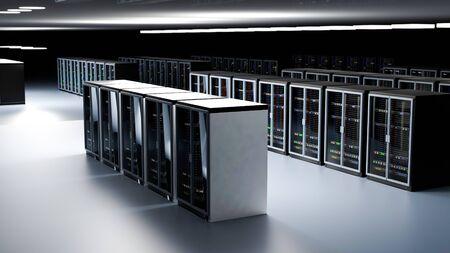 Server racks in server room cloud data center. Datacenter hardware cluster. Backup, hosting, mainframe, farm and computer rack with storage information. 3D rendering. 3D illustration Banco de Imagens - 148874925